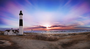 Ludington Big Sable point Lighthouse. A beautiful sunset @ Ludingtonm MI Stock Photography