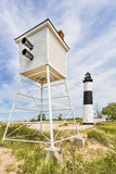 Ludington Foghorn and Lighthouse Stock Images