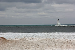 Ludington Lighthouse. Picture of the Ludington Lighthouse in the Winter.  The Ludington Lighthouse is on Lake Michigan Royalty Free Stock Photography