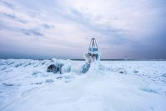Ludington North Breakwater Lighthouse in the Background Royalty Free Stock Photo