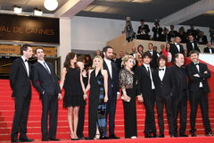 Ludivine Sagnier, Catherine Deneuve, Louis Garrel. CANNES, FRANCE - MAY 22: Alex Beaupain, Paul Schneider, Chiara Mastroianni, Ludivine Sagnier, Rasha Bukvic Royalty Free Stock Photo