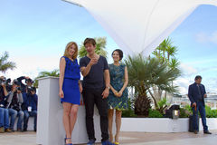 Ludivine Sagnier, Zhang Ziyi and Thomas Vinterberg. CANNES, FRANCE - MAY 16: Ludivine Sagnier attends the Jury 'Un Certain Regard' Photocall during the 66th Royalty Free Stock Photos