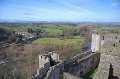 Ludlow castle and shropshire land. View over ludlow castle battlements and shropshire countryside Stock Image