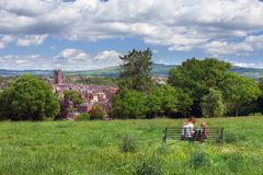 Ludlow, Shropshire. Having a picnic overlooking the Shropshire market town of Ludlow, England Stock Images