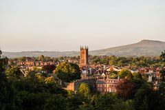 Ludlow w Shropshire od Whitcliffe błonia fotografia royalty free