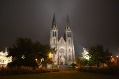 Ludmila's church Prague in night Royalty Free Stock Images