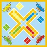 Ludo, игра с автомобилем и детьми, вектором иллюстрация штока