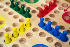 Ludo board family game. Close-up view Royalty Free Stock Image
