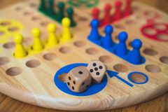 Ludo board family game. Close-up view Stock Photo