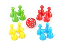 Ludo Board Game Figurines 3d framför Arkivbild