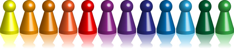 Ludo_figures_chromatic_row Royalty Free Stock Photo