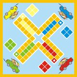 Ludo, board game with car and children, vector. Ludo, board game with car and children. Vector illustration. Game for children Royalty Free Stock Photography