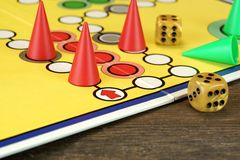 Free Ludo Or  Parchis Game Board With Playing Figures And Two Dices Royalty Free Stock Photos - 61751378