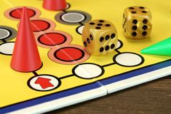 Ludo Or  Parchis Game Board With Playing Figures And Two Dices Stock Image