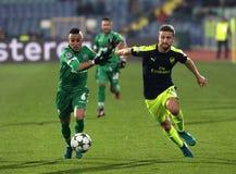 Ludogorets versus Arsenaalvoetbalwedstrijd stock foto