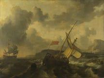 Ludolf Bakhuizen - een Engels Schip en een mens-van-Oorlog in een Ruwe Overzees stock foto