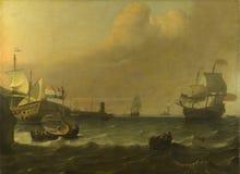 Ludolf Bakhuizen - Nederlandse mens-van-Oorlog die een Mediterrane Haven ingaan stock afbeeldingen