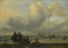 Ludolf Bakhuizen - Plażowa scena z rybakami zdjęcia stock