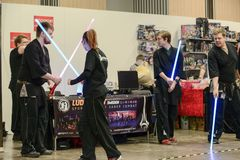 Ludosport is the world`s first academy to teach and practice Sporting Light Saber Combat - Lightning Fighting as a sporting activi. Ludosport is a dueling sport stock photography