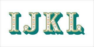 Ludowego abecadła ornamentacyjny kwiecisty list Ja J K L Fotografia Royalty Free