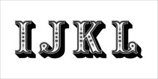 Ludowego abecadła ornamentacyjny kwiecisty list Ja J K L Zdjęcie Stock