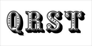 Ludowego abecadła ornamentacyjny kwiecisty list Q R S T Fotografia Stock