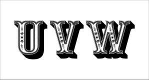 Ludowego abecadła ornamentacyjny kwiecisty list U V W Zdjęcie Royalty Free