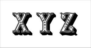 Ludowego abecadła ornamentacyjny kwiecisty list X Y Z Zdjęcia Stock
