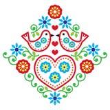 Ludowej sztuki kwiecisty wzór z ptakiem i kwiatami ilustracji