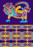 Ludowy etniczny zwierzę - małpuje z bezszwową geometrią Obrazy Stock