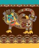 Ludowy etniczny zwierzę - małpuje z bezszwowym lampasem Zdjęcia Royalty Free