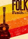 Ludowy festiwalu plakat Retro typographical grunge wektoru ilustracja Obraz Stock