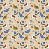 Ludowy kwiecisty bezszwowy wzór z ptakami i kwiatami, guasz farba zdjęcie royalty free