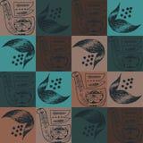 Ludowy ornament zmrok - błękitny kolor nad kwadratami brąz barwi ilustracji
