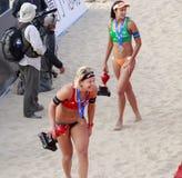 Ludwic ganhou a medalha de bronze, muito feliz Fotos de Stock