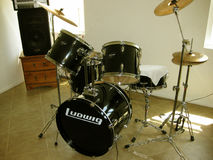 Ludwig Drum Set. The black Ludwig drum set with cymbals Stock Images