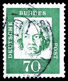 Ludwig van Beethoven 1770-1827, composer, Distinguished Germans serie, circa 1962. MOSCOW, RUSSIA - MARCH 30, 2019: A stamp printed in Germany, Federal Republic stock photo