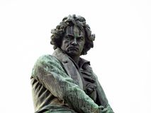 Ludwig van Beethoven monument Vienna. Sculpure of the important composer and pianist Ludwig van Beethoven in Vienna - white background Royalty Free Stock Photography