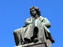 Ludwig van Beethoven. Sculpture of Ludwig van Beethoven isolated on clear blue sky. Austria, Vienna Stock Photography