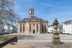 Ludwigkirche. SAARBRUCKEN, GERMANY - APRIL 10: The Ludwigskirche in Saarbrucken on a sunny spring day. April 10, 2015 in Saarbrucken, Germany Stock Photography