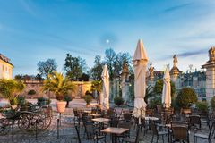 LUDWIGSBURG, GERMANY - OCTOBER 25, 2017: The castle cafe invites for a rest to enjoy the scenic light of the blue hour.  Stock Image