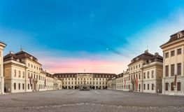 LUDWIGSBURG, GERMANY - OCTOBER 25, 2017: During sundown the inner yard of the castle glooms in the residual sun light.  Royalty Free Stock Images