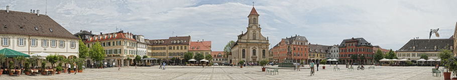Ludwigsburg, Germany. Panoramic View at the market place of Ludwigsburg Royalty Free Stock Photos