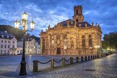 Ludwigskirche - barock stilkyrka i Saarbrucken Arkivfoto