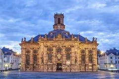 Ludwigskirche - barock stilkyrka i Saarbrucken Arkivbild