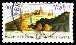 Ludwigstein castle Hessia and castle ruin Hanstein Thurin, Werratal, View of Two Castles serie, circa 2011. MOSCOW, RUSSIA - FEBRUARY 21, 2019: A stamp printed stock photos