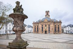 Ludwisgkirche i Saarbrucken arkivbilder