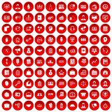 100 ludzi biznesu ikona ustawiającej czerwieni Zdjęcie Stock