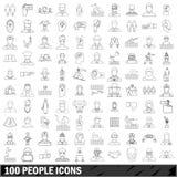 100 ludzi ikon ustawiać, konturu styl ilustracja wektor