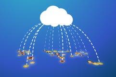 Ludzie łączący W chmurze, płaska ilustracja Zdjęcie Royalty Free